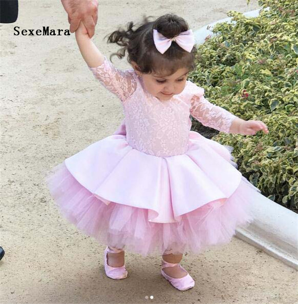 new pink baby tutu dress half sleeves V back crew neck infant girl birthday party outfit celebration gown for special occasion