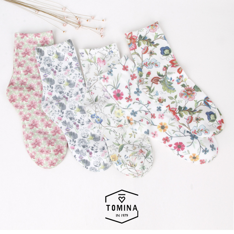 NOVIA NMW-006 Spring fall/winter new women's   socks   high quality retro fashion flower printing cotton female   socks