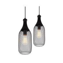 Lampe suspendue dintérieur Vintage en forme de bouteille en fer avec support E27, noir, luminaire, pour salon, café, salle à manger (DX 50)