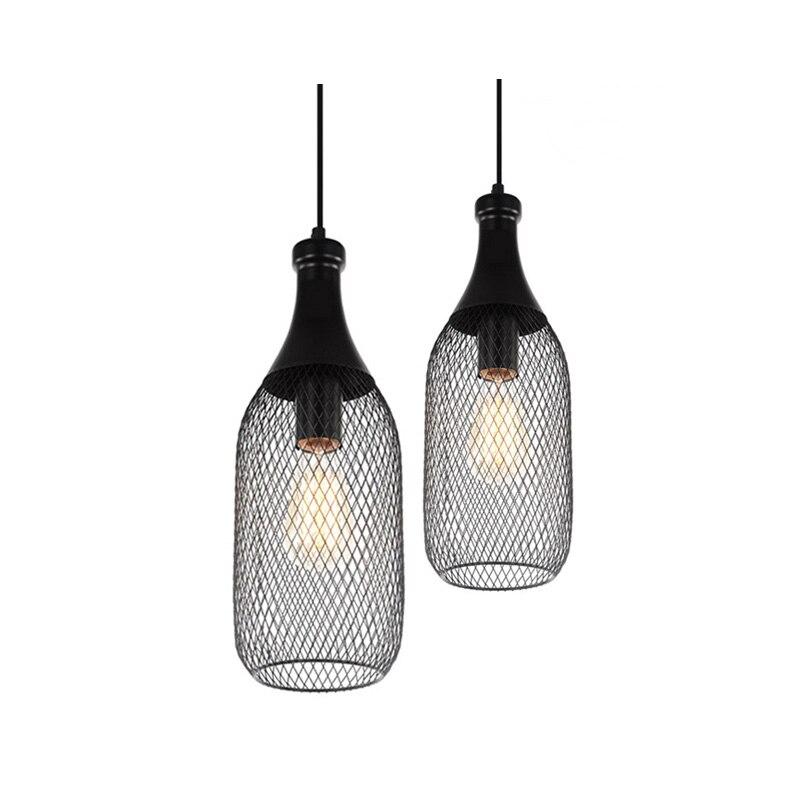 Vintage Iron Bottle Shape Indoor Pendant Lamp E27 Lamp Holder Black Pendant Lighting For Foyer/Coffee House/Dining Hall(DX-50)