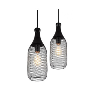 Image 1 - خمر الحديد زجاجة شكل قلادة مصباح e27 حامل مصباح داخلي الأسود قلادة الإضاءة ل بهو/مقهى/الطعام قاعة (DX 50)