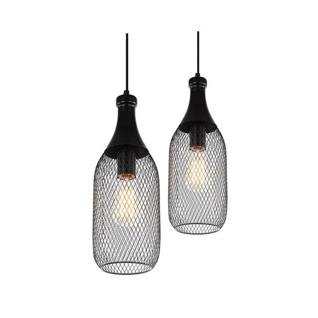 خمر الحديد زجاجة شكل قلادة مصباح e27 حامل مصباح داخلي الأسود قلادة الإضاءة ل بهو/مقهى/الطعام قاعة (DX 50)