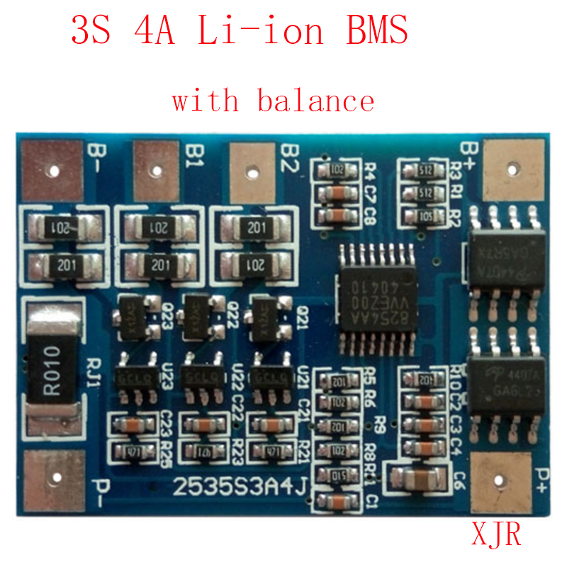 3S 4A  lipo lithium Polymer BMSPCMPCB battery protection board for 3 Packs 18650 Li-ion Battery Cell wbalance
