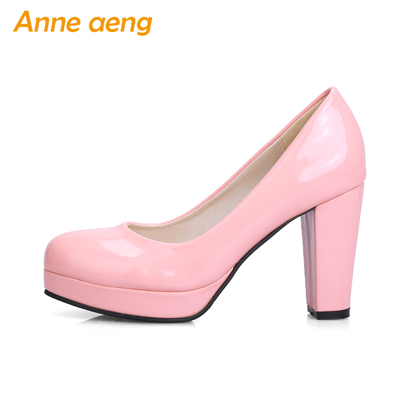 2018 new women pumps platform patent leather round toe classic pumps elegant high heels pumps black pink white shoes women the new puma womens shoes classic high classic star high tongue series white leather laser badminton shoes