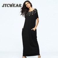 JTCWEAR מזרח התיכון שחור חלוק רופף שרוול קצר שמלת קיץ שמלת גברת אופנה בסגנון ערבי מוסלמי שמלה ארוכה מזדמן 458
