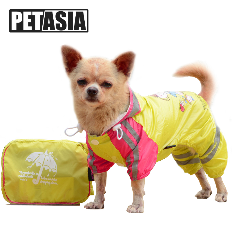 Pet Dog Raincoat Waterproof Hooded Dog Clothes Rain Coat Cloak Pattern For Small large Puppy Pet Rainy XS XXL with hood PETASIA