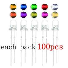100 unids/lote F3 3mm verde/amarillo/azul/blanco/rojo/blanco/caliente Blanco/naranja/violeta/amarillo/Rosa Luz LED verde de Kit