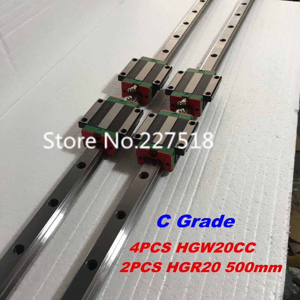 20mm Type 2pcs  HGR20 Linear Guide Rail L500mm rail + 4pcs carriage Block HGW20CC blocks for cnc router tbi 2pcs trh20 1000mm linear guide rail 4pcs trh20fe linear block for cnc