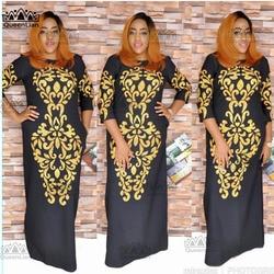 2018 größe (L-3XL) new African Dashiki Mode Schwarz Gold Muster Super Elastische Party Plus Größe Lose Kleid Für Dame CP04 #