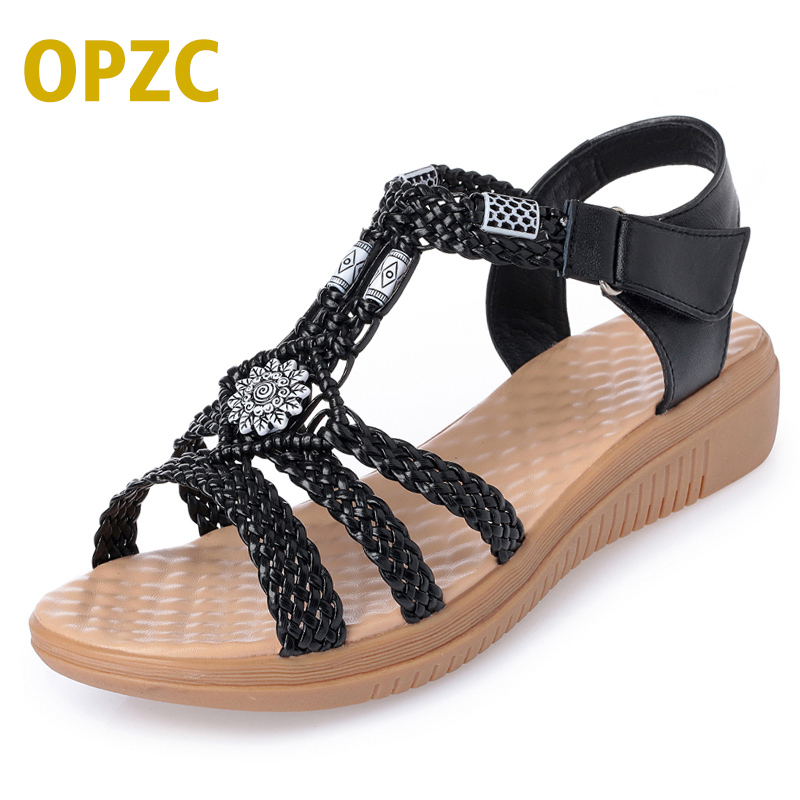 OPZC 2018 Summer Rome style woman cane shoes Braided straps & exotic style Casual & comfortable flat Rattan weaving shoes