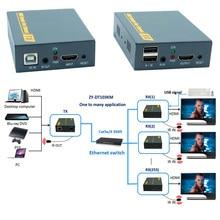Наивысшее качество HDMI USB KVM ИК по ip-сети Extender 394ft 1080 P HDMI клавиатура Мышь KVM Extender через RJ45 Cat5e cat6 кабель