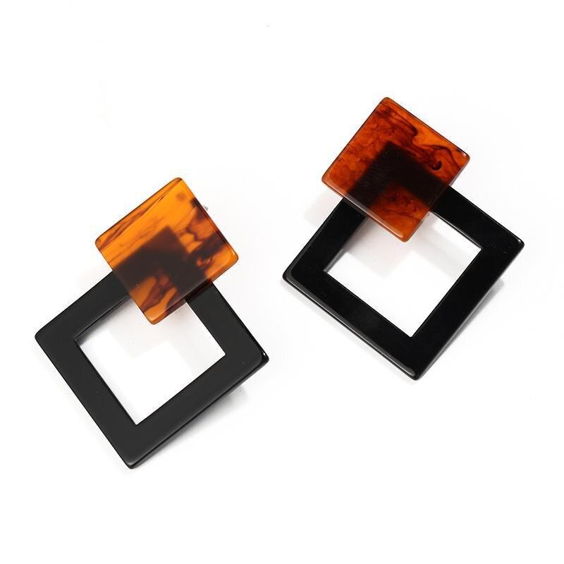 Корейские Модные Акриловые Серьги Геометрические Квадратные висячие серьги из смолы для женщин модные ювелирные изделия Oorbellen - Metal Color: Black