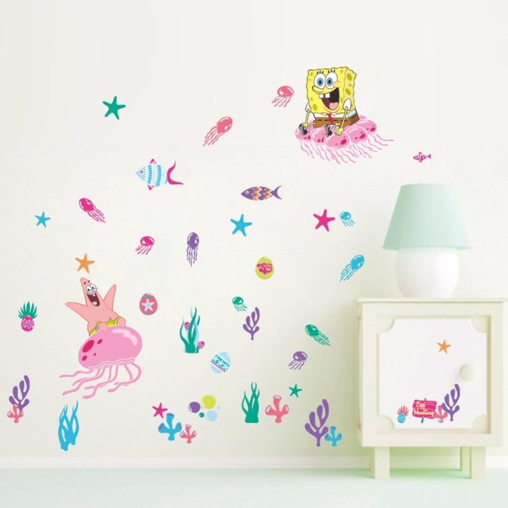 10 pcs/Pack Spongebob Squarepants corail enfants Stickers muraux vinyle décalque pépinière décor cadeau