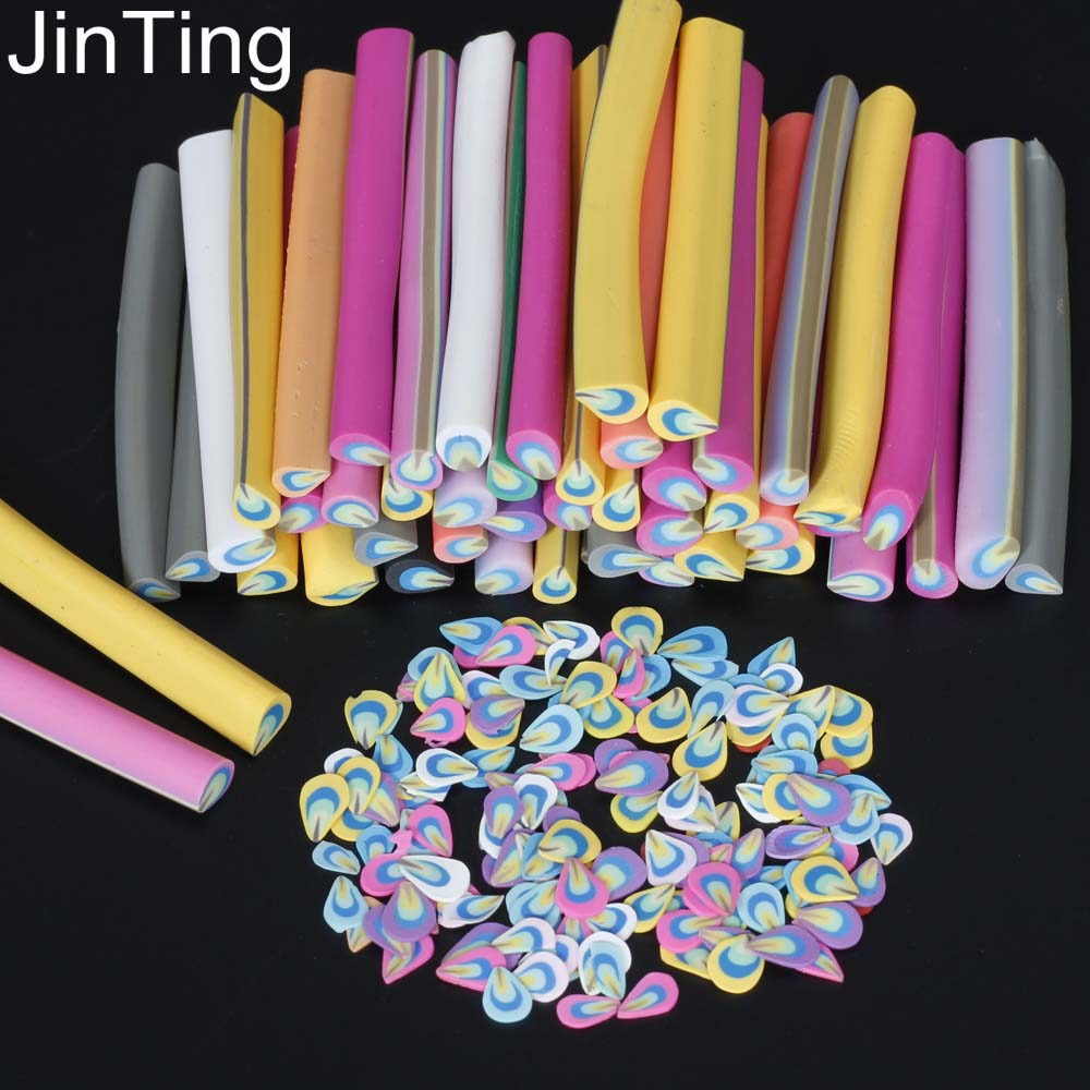 50 Pcs Fimo Canes Stick 3d Nail Art Decorations Polymer Clay Stickers Tips Slices