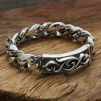 S925 wholesale sterling silver jewelry silver star with a Korean man to spend eternity retro Silver Flower Bracelet