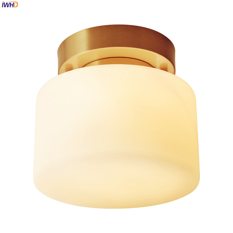 IWHD American Country Vintage Ceiling Lamps For Home Lighting Hallway Balcony Porch Glass Copper LED Ceiling Lights Fixtures|Ceiling Lights| |  - title=