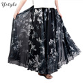 High Quality Women Elegant High Waist Double Layer Chiffon Long Skirt 2015 New Fashion 10 Colors Elastic Waist Sweet Skirts SK36