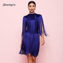 Seamyla yeni ünlü bandaj elbiseler kadın 2019 saçak yaz elbisesi seksi püsküller kulübü Vestidos Bodycon akşam parti elbiseler