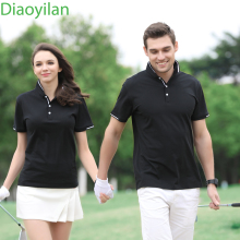 2017 new men women golf shirt summer golf training garment sports striped shirts short sleeve polo tops outdoor golf wear brand