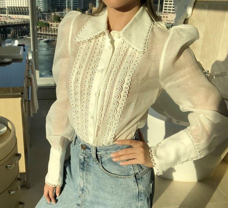 9b16d4e087d2f0 2018 Woman Silk Linen WHITE GOLDEN DOILY BLOUSE Shirt Blouse TOP lONG  Sleeves with Button cuffs
