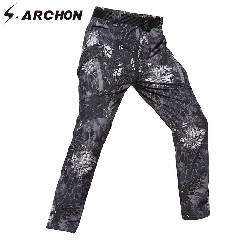 S. ARCHON IX9 зима мягкой оболочки тактические брюки Для мужчин камуфляж Водонепроницаемый теплые армейские брюки много карманов военных грузов...