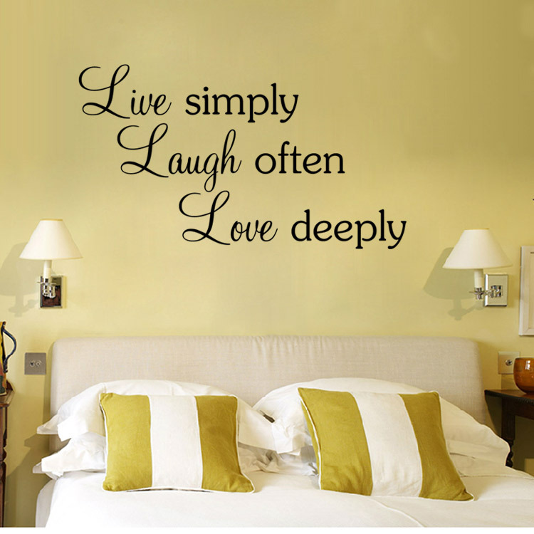 Free Shipping Quotes Wall Stickers Live simply laugh often love ...