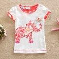 Флаги 2016 лето девочка одежда 100% хлопок цветок лица слон печати мода Футболка с коротким рукавом детская одежда G6113