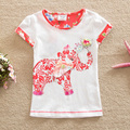 Banderas 2016 verano ropa de bebé niña 100% algodón de la flor entidad elefante moda print Camiseta de manga corta para niños ropa G6113