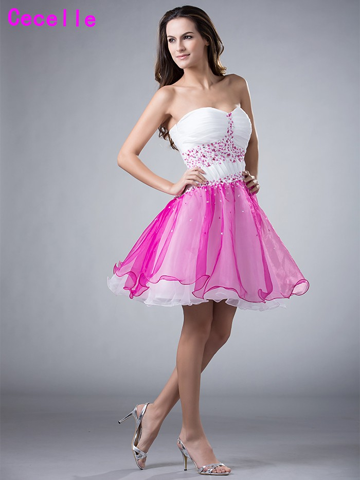 Girls 2017 Short White Homecoming Prom Dresses Sweetheart Two Tones ...