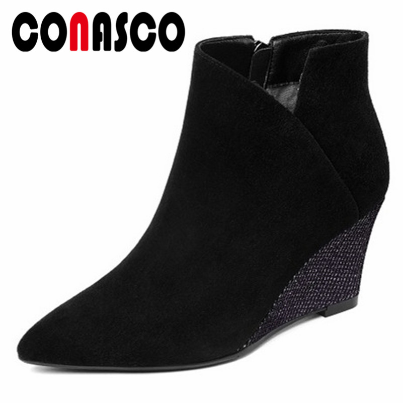 CONASCO Elegant Women Wedges High Heels Ankle Boots Genuine Leather Zipper Autumn Winter Shoes Woman Pointed Toe Martin Boots CONASCO Elegant Women Wedges High Heels Ankle Boots Genuine Leather Zipper Autumn Winter Shoes Woman Pointed Toe Martin Boots