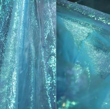Blue sexy Mint crystal mesh chiffon fabric dress patch wedding gauze diy textiles tweed telas por metro tissu A471