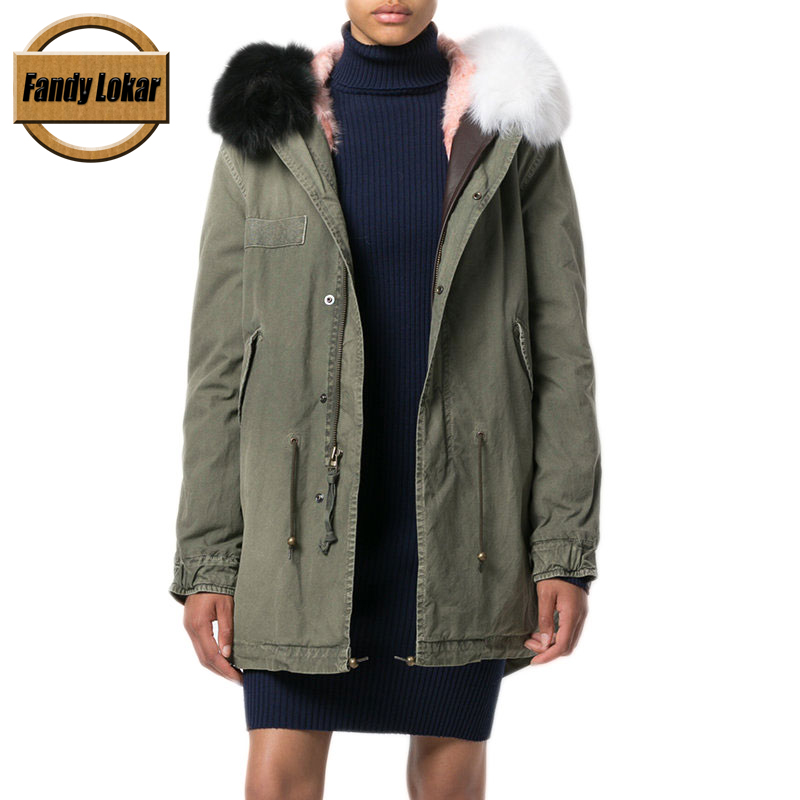 Warm Solid Color Real Fox Fur Collar Coat Loose Women Winter Real Lamb Fur Liner Hooded Jacket Women Army Bomber Parka FP9109 new long warm raccoon fur collar coat women winter real fox fur liner hooded jacket women bomber parka female ladies fp9116