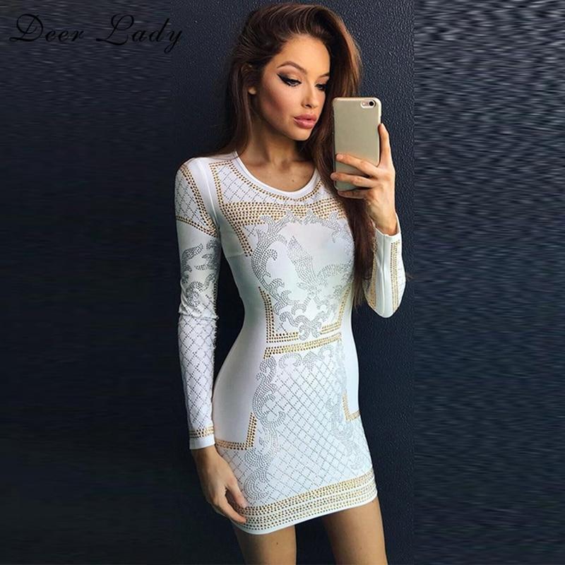 Deer Lady Winter Rayon White Bandage Dress 2017 New Arrivals Fringe Bodycon Mini Dress Sexy Vestidos Long Sleeve Bandage Dress цена