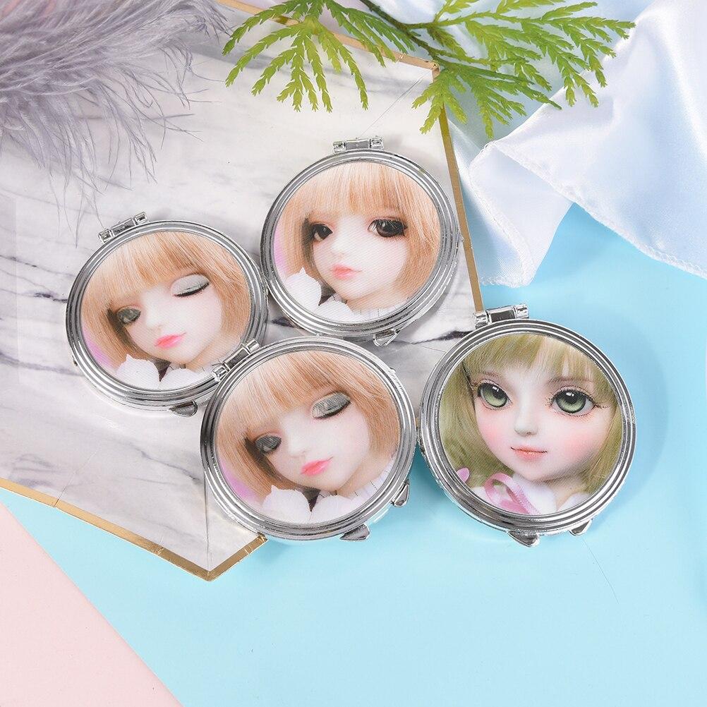 Schminkspiegel UnabhäNgig Doppelseite Mini Fodable Kosmetik Runden Taschenspiegel Make-up Kompakte Herzform Spiegel Farbe Zufällig Spiegel