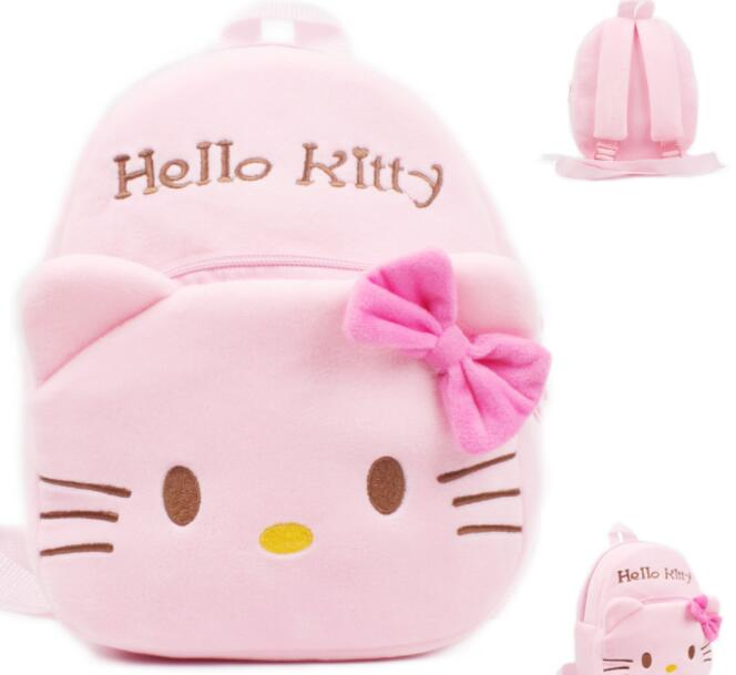 цены на Baby cute school bags Hello Kitty cat cartoon plush backpack toddler children pink schoolbag for kindergarten girls gift