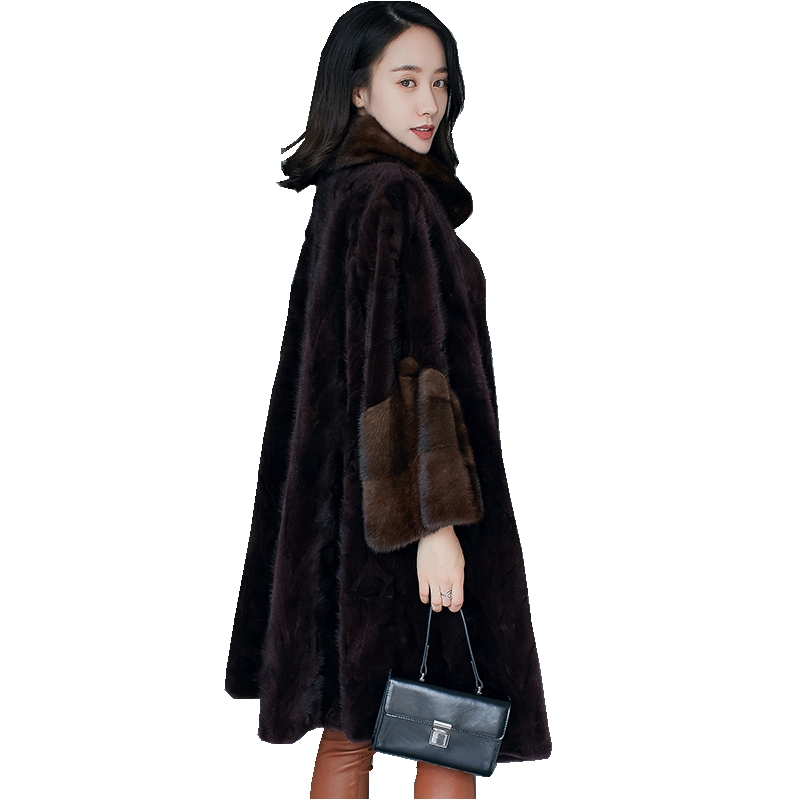 European Genuine Piece Mink Fur Coat Jacket Winter Women Fur Warm Outerwear Coats Garment Plus Size