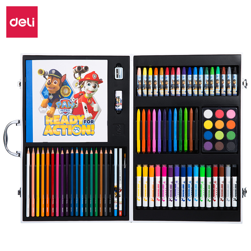 Deli 82 en 1 enfants coffrets cadeaux école papeterie Arts ensemble HB crayon/taille-crayon/gomme/pastel à l'huile/crayons/stylo aquarelle/crayon de couleur