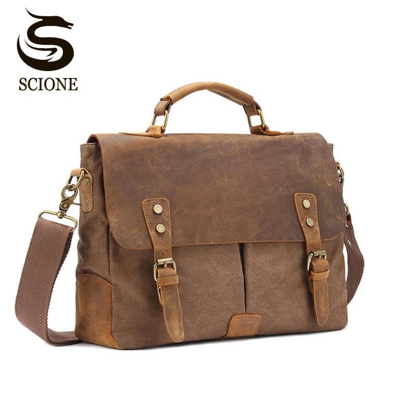 Luxury Mens Briefcase Bag Shoulder Crossbody Bags Military Canvas + Genuine Leather Messenger Bag Patchwork Handbag School Tote