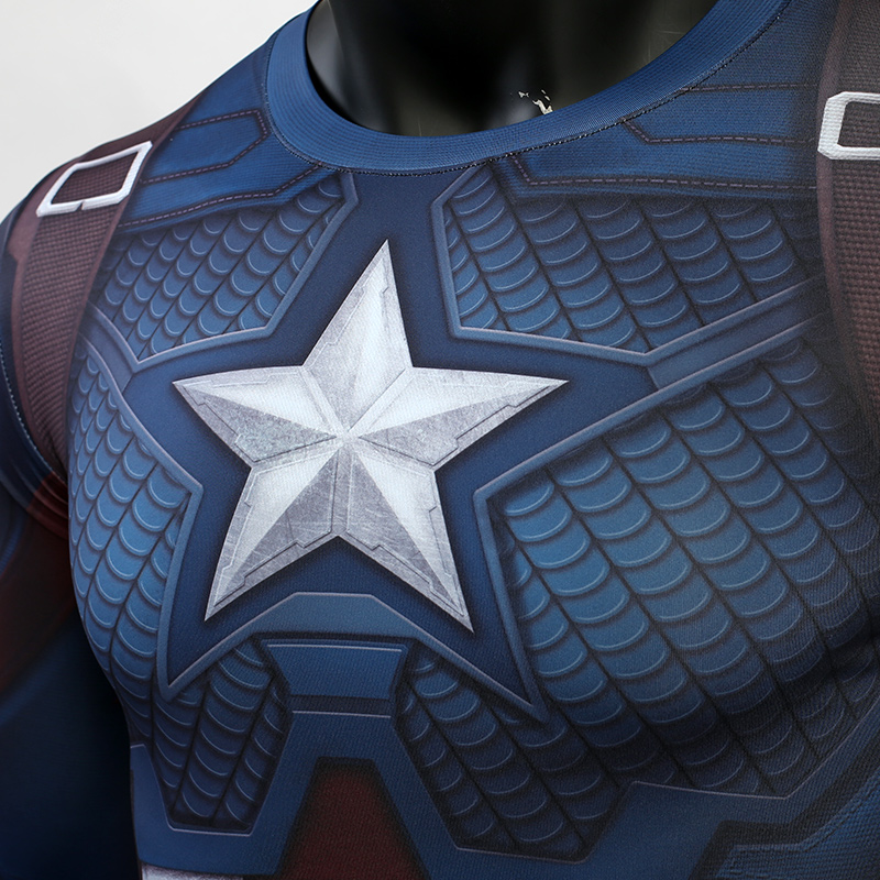 3D Captain America T-shirt Cosplay Avengers Endgame Captain America Costume Avengers 4 Steve Rogers T-shirts Sport Tight Tees4
