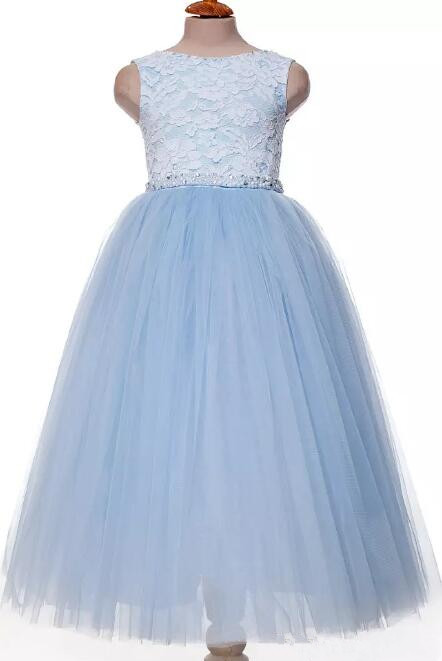 Sky Blue Custom Made Lace Ball Gown Flower Girls Dresses with Beaded Sash Custom Color Custom Size