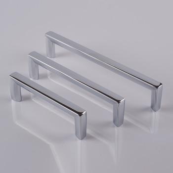 "96 128 160mm modern simple chrome black kitchen cabinet wardrobe door handle brushed nickel silver drawer cupboard pull knob 5"""