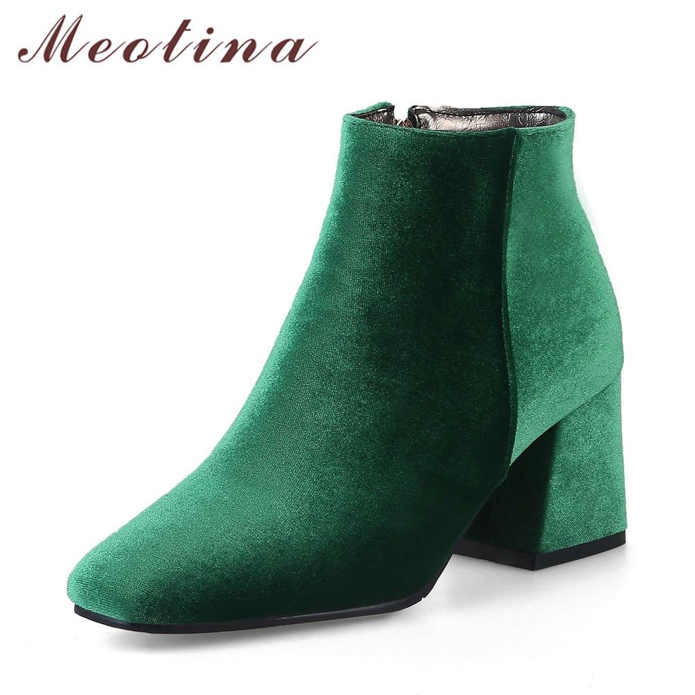Meotina Velvet Boots Women Ankle Boots High Heels Short Boots Zipper 2018 Brand Luxury Block Heel Shoes Green Big Size 12 33-46