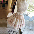 Two Piece Homecoming Dress O neck Sleeveless Short Lovely Off the Shoulder Real Picture Sexy A Line Tulle 8th Grade Prom Dresses