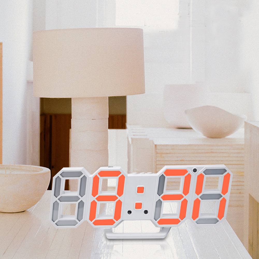 Image 4 - Digital Wall Clock 3D LED Alarm Clock Electronic Desk Clocks with Large Temperature 12/24 Hour Display-in Wall Clocks from Home & Garden