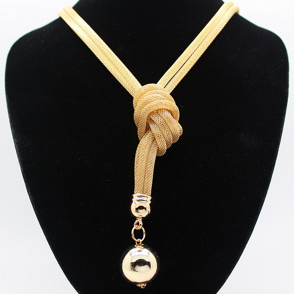 freies Verschiffen knotete modernes hochwertiges Frauengold lange - Modeschmuck
