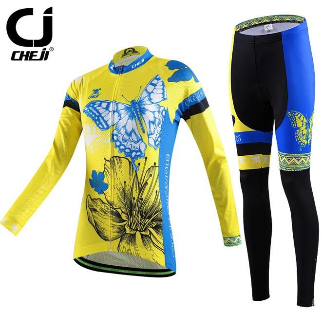 CHEJI Women s Cycling Jerseys Trouser Sets Long Sleeve Pro Cycle Jerseys Sets