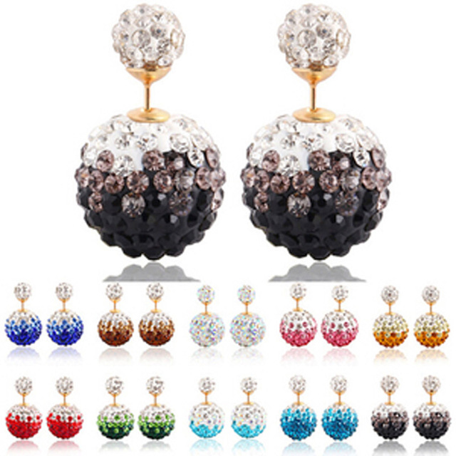 New Trendy 2016 Double Side Rhinestone Stud Earrings 10 Colour for Women Crystal Girl Ear Jewelry Accessories E1437- E1446
