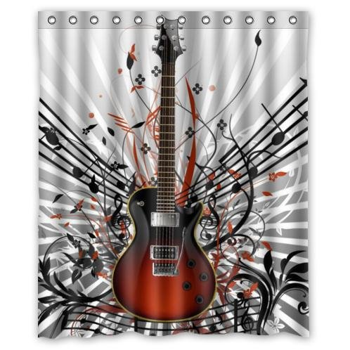 Fashionable Guitar Music Notes Waterproof Bathroom Decor,Polyester ...