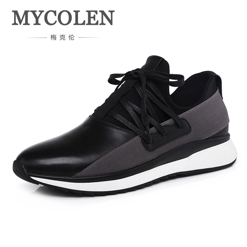 MYCOLEN Genuine Leather Men Casual Shoes British Style Lace Up Flats Fashion Designer Men Shoes 2018 Black Lace-Up Sneakers fashion men s lace up straight legs cropped jeans