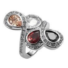 Изысканный Morganite Гранат Черный оникс Белый Кристалл Циркон Стерлингового Серебра 925 кольцо Для Женщин Размер 6 7 8 9 10 11 F1561